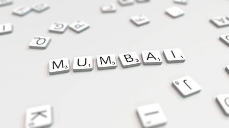 MUMBAI city name being made with scrabble letters. Editorial 3D rendering 報道画像