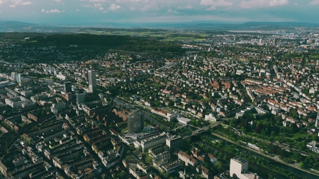 Aerial view of Zurich and the River Limmat, Switzerland Stock fotó
