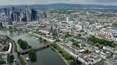 Aerial view of the cityscape of Frankfurt am Main, Germany