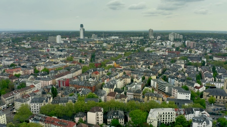 Aerial view of residentail area of Frankfurt am Main, Germany Stock Photo