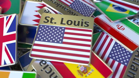 Souvenir magnet or badge with St. Louis text and national flag among different ones. Traveling to the United States conceptual 3D rendering