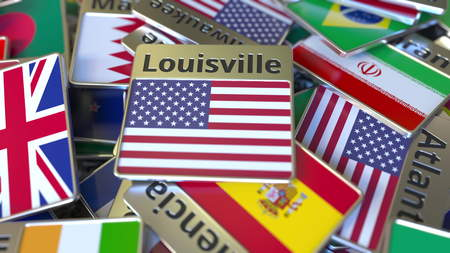 Souvenir magnet or badge with Louisville text and national flag among different ones. Traveling to the United States conceptual 3D rendering