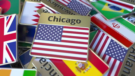 Souvenir magnet or badge with Chicago text and national flag among different ones. Traveling to the United States conceptual 3D rendering