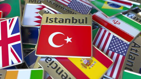 Souvenir magnet or badge with Istanbul text and national flag among different ones. Traveling to Turkey conceptual 3D rendering