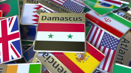 Souvenir magnet or badge with Damascus text and national flag among different ones. Traveling to Syria conceptual 3D rendering