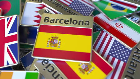 Souvenir magnet or badge with Barcelona text and national flag among different ones. Traveling to Spain conceptual 3D rendering