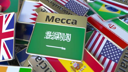 Souvenir magnet or badge with Mecca text and national flag among different ones. Traveling to Saudi Arabia conceptual 3D rendering Stockfoto