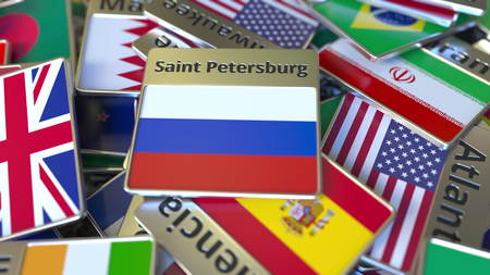 Souvenir magnet or badge with Saint Petersburg text and national flag among different ones. Traveling to Russia conceptual 3D rendering Stockfoto