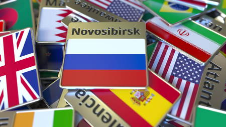 Souvenir magnet or badge with Novosibirsk text and national flag among different ones. Traveling to Russia conceptual 3D rendering