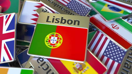 Souvenir magnet or badge with Lisbon text and national flag among different ones. Traveling to Portugal conceptual 3D rendering