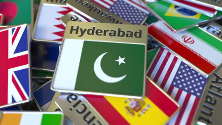 Souvenir magnet or badge with Hyderabad text and national flag among different ones. Traveling to Pakistan conceptual 3D rendering