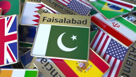 Souvenir magnet or badge with Faisalabad text and national flag among different ones. Traveling to Pakistan conceptual 3D rendering Stok Fotoğraf