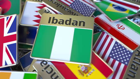 Souvenir magnet or badge with Ibadan text and national flag among different ones. Traveling to Nigeria conceptual 3D rendering
