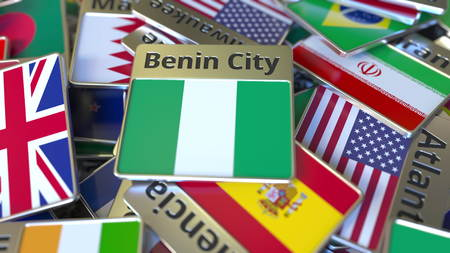 Souvenir magnet or badge with Benin City text and national flag among different ones. Traveling to Nigeria conceptual 3D rendering Stockfoto
