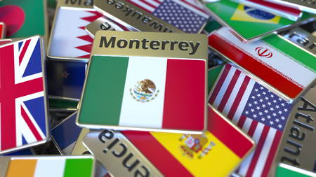 Souvenir magnet or badge with Monterrey text and national flag among different ones. Traveling to Mexico conceptual 3D rendering