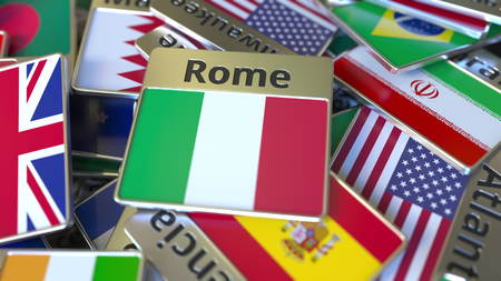 Souvenir magnet or badge with Rome text and national flag among different ones. Traveling to Italy conceptual 3D rendering Фото со стока