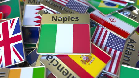 Souvenir magnet or badge with Naples text and national flag among different ones. Traveling to Italy conceptual 3D rendering