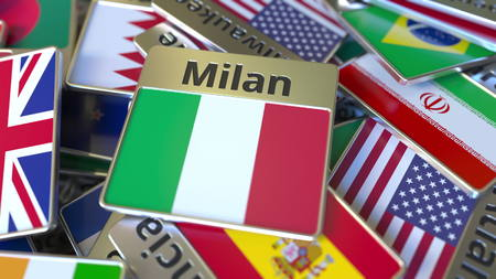 Souvenir magnet or badge with Milan text and national flag among different ones. Traveling to Italy conceptual 3D rendering