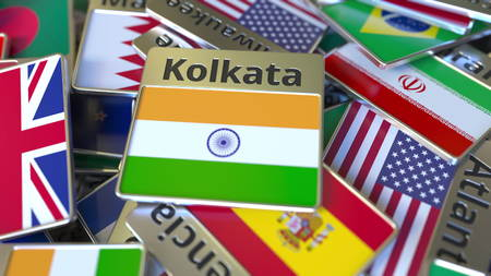 Souvenir magnet or badge with Kolkata text and national flag among different ones. Traveling to India conceptual 3D rendering Stockfoto