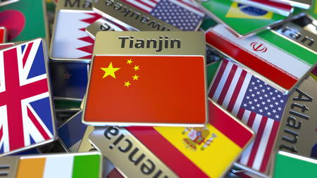 Souvenir magnet or badge with Tianjin text and national flag among different ones. Traveling to China conceptual 3D rendering