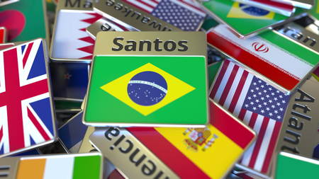 Souvenir magnet or badge with Santos text and national flag among different ones. Traveling to Brazil conceptual 3D rendering