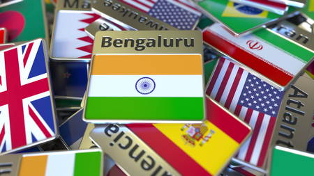 Souvenir magnet or badge with Bengaluru text and national flag among different ones. Traveling to India conceptual 3D rendering