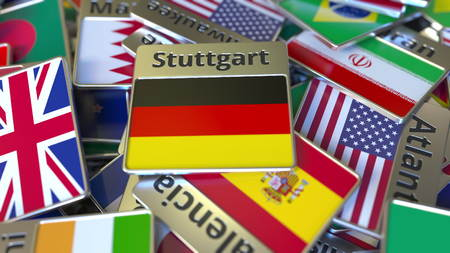 Souvenir magnet or badge with Stuttgart text and national flag among different ones. Traveling to Germany conceptual 3D rendering Stockfoto