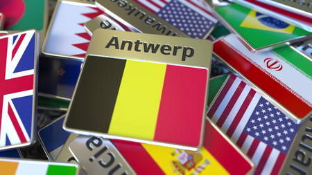 Souvenir magnet or badge with Antwerp text and national flag among different ones. Traveling to Belgium conceptual 3D rendering
