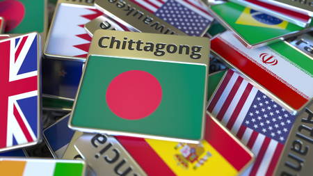 Souvenir magnet or badge with Chittagong text and national flag among different ones. Traveling to Bangladesh conceptual 3D rendering