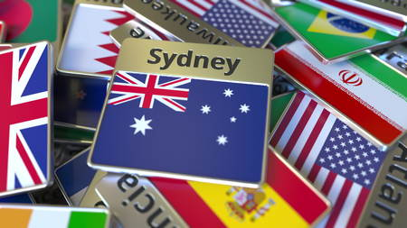 Souvenir magnet or badge with Sydney text and national flag among different ones. Traveling to Australia conceptual 3D rendering