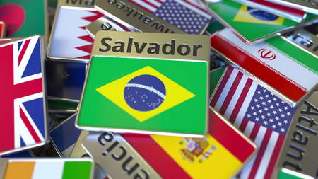 Souvenir magnet or badge with Salvador text and national flag among different ones. Traveling to Brazil conceptual 3D rendering
