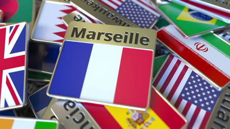 Souvenir magnet or badge with Marseille text and national flag among different ones. Traveling to France conceptual 3D rendering