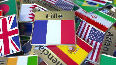 Souvenir magnet or badge with Lille text and national flag among different ones. Traveling to France conceptual 3D rendering