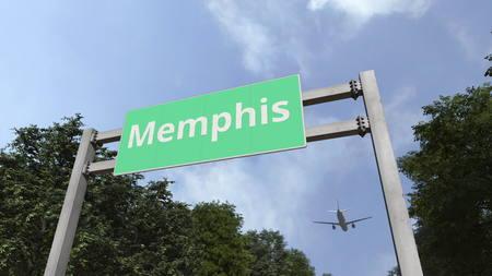 Plane landing in Memphis, United States. 3D rendering 스톡 콘텐츠 - 122669939