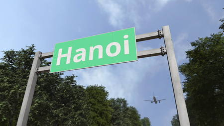 Airliner arrives in Hanoi, Vietnam. 3D rendering