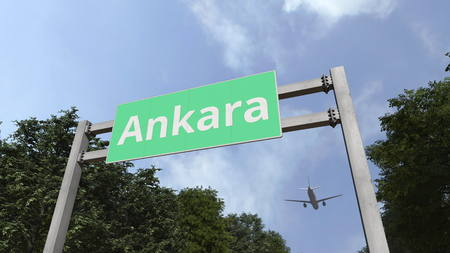 Plane landing in Ankara, Turkey. 3D rendering