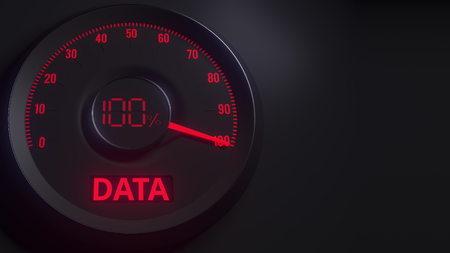 Red and black data meter or indicator, 3D rendering