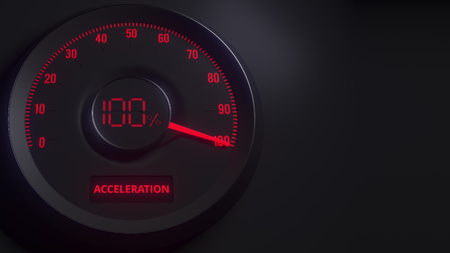 Red and black acceleration meter or indicator, 3D rendering