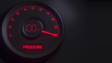 Red and black pressure meter or indicator, 3D rendering