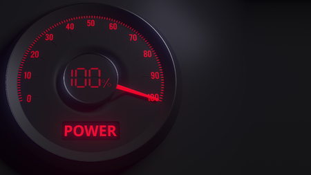 Red and black power meter or indicator, 3D rendering