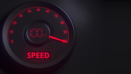 Red and black speed meter or indicator, 3D rendering
