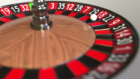 Casino roulette wheel ball hits 18 eighteen red. 3D rendering