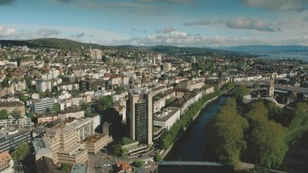 ZURICH, SWITZERLAND - APRIL 28, 2019. Aerial view of the Zurich Marriott Hotel within cityscape