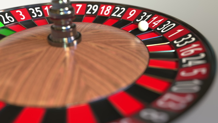 Casino roulette wheel ball hits 14 fourteen red. 3D rendering