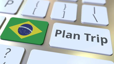 PLAN TRIP text and flag of Brazil on the computer keyboard, travel related 3D rendering