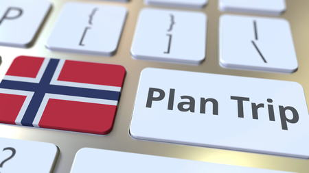 PLAN TRIP text and flag of Norway on the computer keyboard, travel related 3D rendering