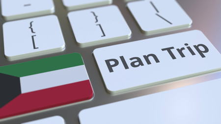PLAN TRIP text and flag of Kuwait on the computer keyboard, travel related 3D rendering Imagens