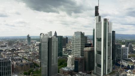 FRANKFURT AM MAIN, GERMANY - APRIL 29, 2019. Aerial view of skyscrapers in city centre