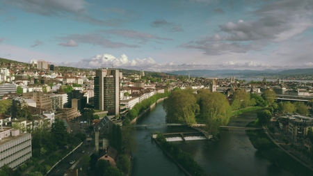 ZURICH, SWITZERLAND - APRIL 28, 2019. Aerial view of the cityscape and the River Limmat Redakční