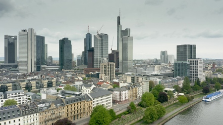 FRANKFURT AM MAIN, GERMANY - APRIL 29, 2019. Aerial view of riverfront and city centre